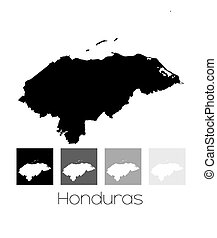 Map of the country of Honduras