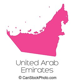 Map of the country of United Arab Emirates