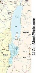 Map of the Dead Sea lying between Israel West Bank and Jordan