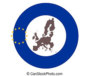 Map of the EU on background with flag
