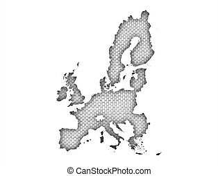 Map of the EU on old linen