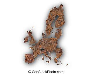 Map of the EU on rusty metal