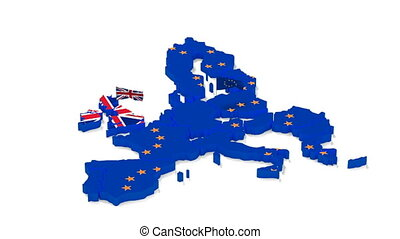 Map of the European Union and Great Britain with state flags