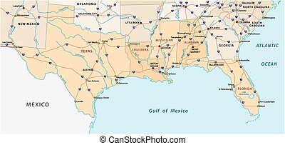 Map of the five US states on the Gulf of Mexico