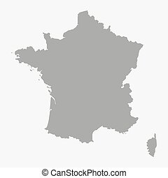 Map of the France in gray on a white background