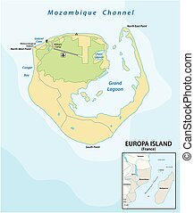 Map of the French overseas territory of Europe Iceland between Mozambique and Madagascar