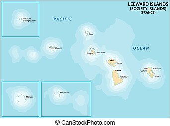Map of the French Polynesian Archipelago Leeward Islands (Society Islands), France