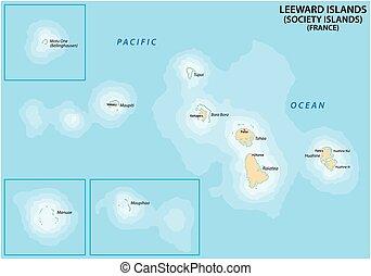 Map of the French Polynesian Archipelago Leeward Islands (Society Islands), France