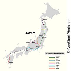 Map of the high speed train network in Japan