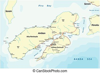 Map of the Indonesian island Ambon belonging to the Maluks