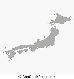 Map of the Japan in gray on a white background