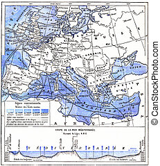 Map of the Mediterranean Sea and Other Waters of Europe, vintage engraved illustration. Dictionary of Words and Things - Larive and Fleury - 1895