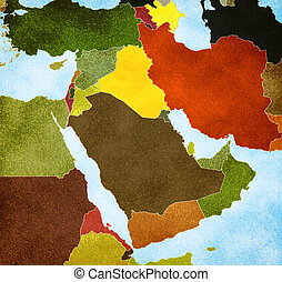 Color map of the Middle East