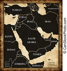 Map of the Middle East on the old style