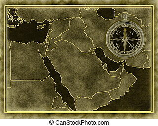 Map of the Middle East with a compass