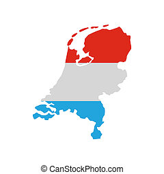 Map of the Netherlands in Dutch flag colors icon