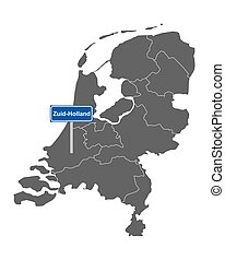 Map of the Netherlands with road sign Zuid-Holland