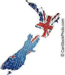 Map of the New Zealand with shiny flag inside
