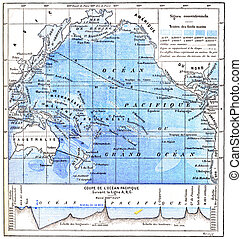 Map Of The Pacific Ocean Vintage Engraving