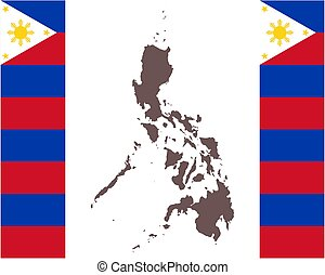 Map of the Philippines on background with flag