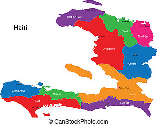 Map of the Republic of Haiti with the departments colored in bright colors