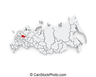 Map of the Russian Federation. Kostroma region. 3d