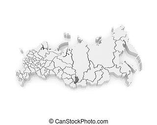 Map of the Russian Federation. Republic of Khakassia. 3d