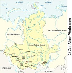 Map of the Russian Siberian Federal District with major ...