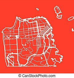 map of the San Francisco city in the style of flat design