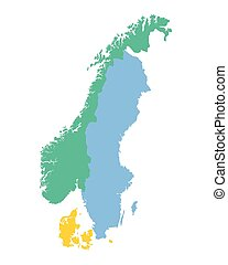 map of the Scandinavian countries (Norway, Sweden and Denmark)
