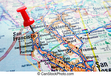 San Francisco - Map of the Silicon Valley section of...