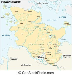 Map of the state Schleswig-Holstein with the most important cities