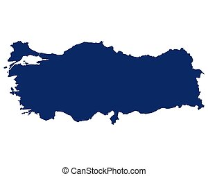 Map of the Turkey in blue colour