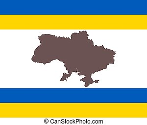 Map of the Ukraine on background with flag