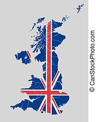 Map of the United Kingdom with rivers on British flag.