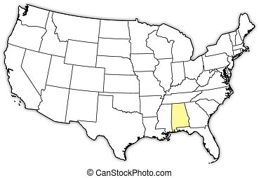 Map of the united states, alabama highlighted. Political map of ...