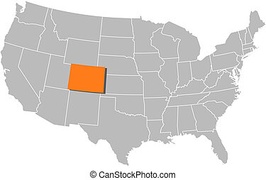 Map of the United States, Colorado highlighted - Political ...