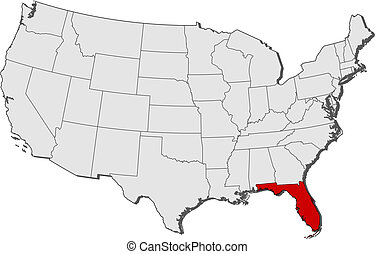 Map of the United States, Florida highlighted - Political...