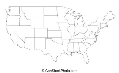 An outlined map of the United States of America. All isolated on white background.