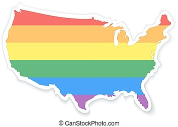 Map of The United States of America in LGBT Flag Colors