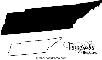 Map of The United States of America (USA) State of Tennessee - Illustration on White Background.