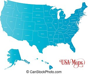 Map of The United States of America with States Name in Blue Color Illustration on White Background