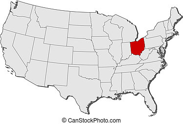 Map of the United States, Ohio highlighted - Political map ...