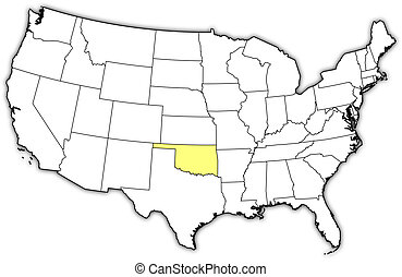 Political map of United States with the several states where Oklahoma is highlighted.