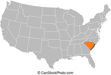 map of the united states south carolina highlighted