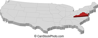 Map of the United States, Virginia highlighted - Political...