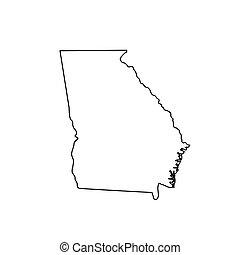 Georgia Map And Confederate Flag State Map Outline Of Vectors - State of georgia map outline
