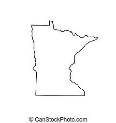 Map of the U.S. state Minnesota. Vector illustration