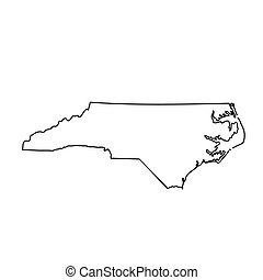 map of the U.S. state North Carolina. Vector illustration