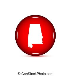Map of the U.S. state of Alabama. Red button on a white backgrou